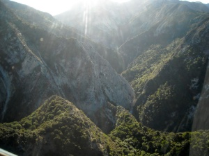 The Ure River gorge through a chopper's perspex window hence the flaring